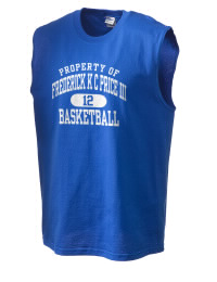 The perfect in-between custom Frederick K C Price III School Knights sleeveless crewneck T-Shirt.  The Frederick K C Price III School Knights sleeveless tee is preshrunk with double-needle stitching on neck, and hemmed armholes.  Ash color is 99% cotton, 1% polyester.  Sport Grey is 90% cotton, 10% polyester.