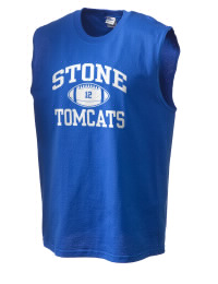 The perfect in-between custom Stone High School Tomcats sleeveless crewneck T-Shirt.  The Stone High School Tomcats sleeveless tee is preshrunk with double-needle stitching on neck, and hemmed armholes.  Ash color is 99% cotton, 1% polyester.  Sport Grey is 90% cotton, 10% polyester.