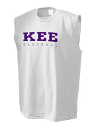 The perfect in-between custom Kee High School Hawks sleeveless crewneck T-Shirt.  The Kee High School Hawks sleeveless tee is preshrunk with double-needle stitching on neck, and hemmed armholes.  Ash color is 99% cotton, 1% polyester.  Sport Grey is 90% cotton, 10% polyester.