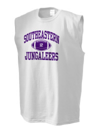 The perfect in-between custom Southeastern High School Jungaleers sleeveless crewneck T-Shirt.  The Southeastern High School Jungaleers sleeveless tee is preshrunk with double-needle stitching on neck, and hemmed armholes.  Ash color is 99% cotton, 1% polyester.  Sport Grey is 90% cotton, 10% polyester.