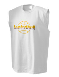The perfect in-between custom Titusville High School Rockets sleeveless crewneck T-Shirt.  The Titusville High School Rockets sleeveless tee is preshrunk with double-needle stitching on neck, and hemmed armholes.  Ash color is 99% cotton, 1% polyester.  Sport Grey is 90% cotton, 10% polyester.