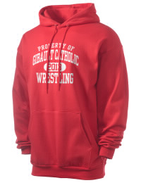 Crafted for comfort, this lighter weight Gibault Catholic High School Hawks hooded sweatshirt is perfect for relaxing and it's a real value for a sportswear hoody. A must have for the serious Gibault Catholic High School Hawks apparel and merchandise collection. 50/50 cotton/poly fleece hoodie with two-ply hood, dyed-to-match drawcord, set-in sleeves, and front pouch pocket round out the features of a Hawks hooded sweatshirt.