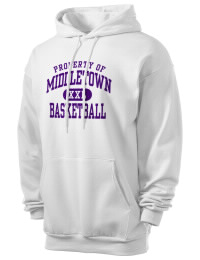 Crafted for comfort, this lighter weight Middletown High School Mighty Middies hooded sweatshirt is perfect for relaxing and it's a real value for a sportswear hoody. A must have for the serious Middletown High School Mighty Middies apparel and merchandise collection. 50/50 cotton/poly fleece hoodie with two-ply hood, dyed-to-match drawcord, set-in sleeves, and front pouch pocket round out the features of a Mighty Middies hooded sweatshirt.