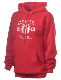 Crafted for comfort, this lighter weight Ceres High School Bulldogs hooded sweatshirt is perfect for relaxing and it's a real value for a sportswear hoody. A must have for the serious Ceres High School Bulldogs apparel and merchandise collection. 50/50 cotton/poly fleece hoodie with two-ply hood, dyed-to-match drawcord, set-in sleeves, and front pouch pocket round out the features of a Bulldogs hooded sweatshirt.