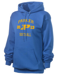 Crafted for comfort, this lighter weight Parker High School Broncs hooded sweatshirt is perfect for relaxing and it's a real value for a sportswear hoody. A must have for the serious Parker High School Broncs apparel and merchandise collection. 50/50 cotton/poly fleece hoodie with two-ply hood, dyed-to-match drawcord, set-in sleeves, and front pouch pocket round out the features of a Broncs hooded sweatshirt.