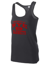 The Rye High School Garnets District Threads Racerback Tank is semi-fitted for a flattering look and perfect for layering. Racerback detail lends casual, athletic style.