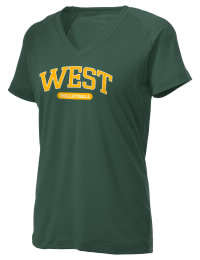 The Ladies Ultimate Performance V-Neck West High School Trojans tee is perfect for your active lifestyle.  The V-neck performance t-shirt is made with moisture wicking fabric and has a soft, cotton-like feel. This layerable West High School Trojans V-neck tee is sure to become a favorite on and off the court.