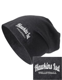 On the street or on the slopes, stay warm and look cool in this Hawkins ISD School Hawks knit hat. An acyrlic/polyester blend beanie with a snug yet slouchy fit. Embroidery will not be on center front, but off centered to the left.