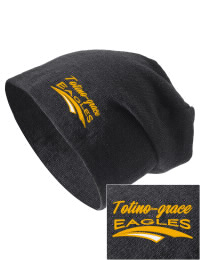 On the street or on the slopes, stay warm and look cool in this Totino-Grace High School Eagles knit hat. An acyrlic/polyester blend beanie with a snug yet slouchy fit. Embroidery will not be on center front, but off centered to the left.