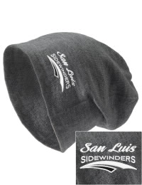 On the street or on the slopes, stay warm and look cool in this San Luis High School Sidewinders knit hat. An acyrlic/polyester blend beanie with a snug yet slouchy fit. Embroidery will not be on center front, but off centered to the left.